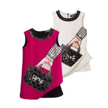 European/American Brand Design Girls Handbag Pure cotton Princess Vest Dress clj042(China (Mainland))