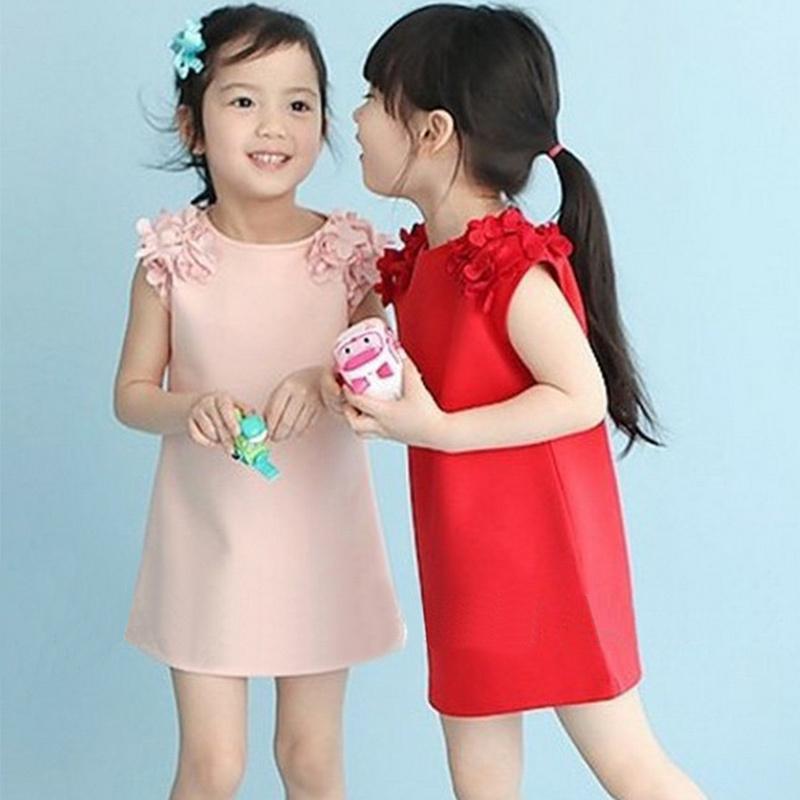 2015 New Children Clothing Sweet Summer Style Flower Girls Princess Dress Fashion Kids Baby Girls Dresses(China (Mainland))