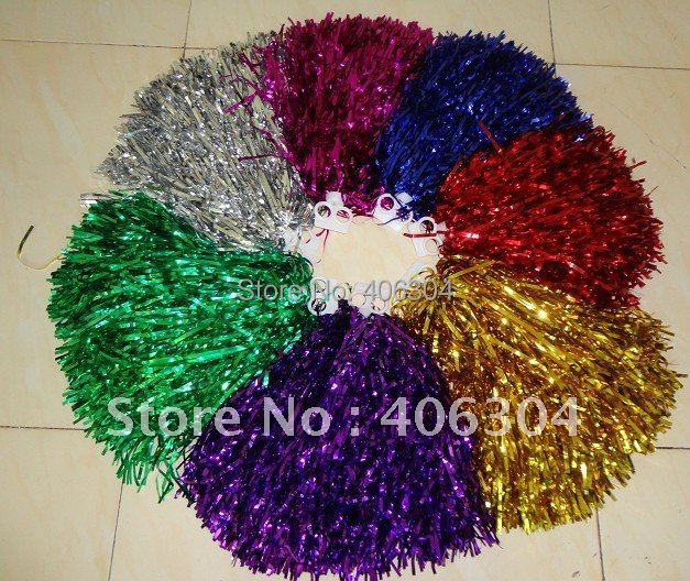 Free Shipping.Pompom,Cheering pompom,Metalic Pom Pom,Cheerleading pompom products,50G,6 colours(China (Mainland))