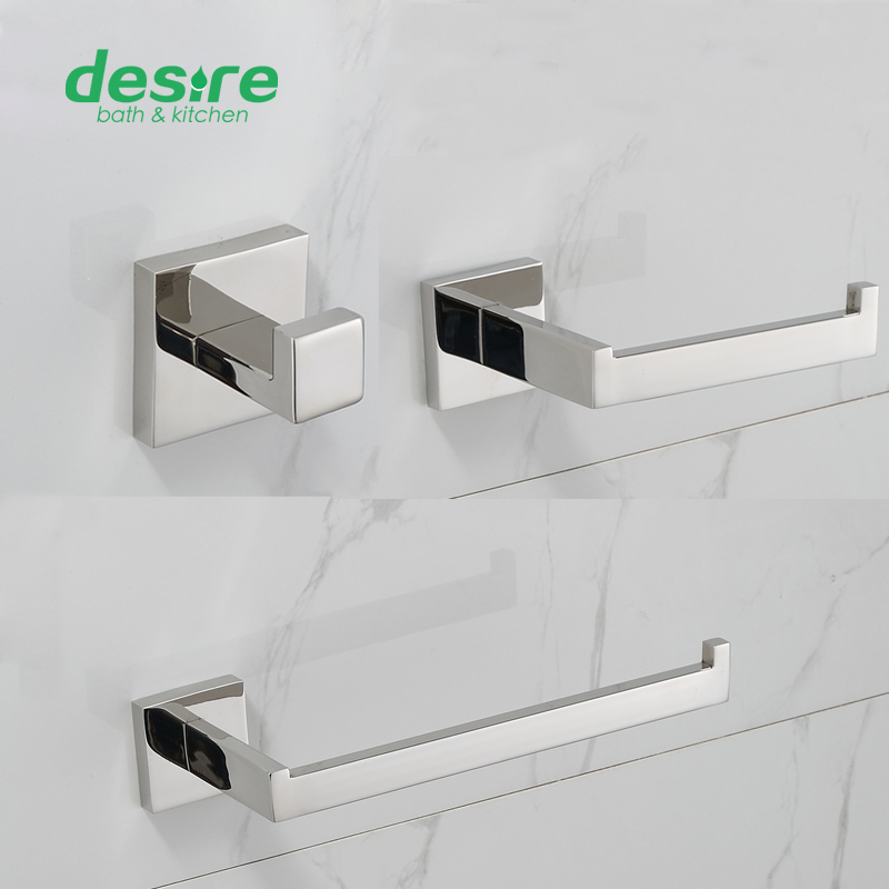 SUS  304 Hand Polished Finished bathroom accessories set 3 Piece-Double Towel Bar ,Clothes Hook,Tissue holder 71500B