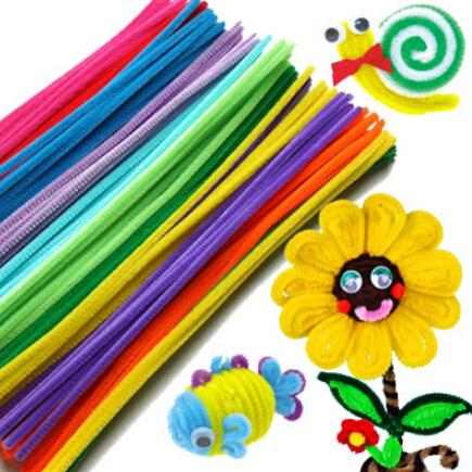 50pcs/set Plush Stick & Shilly-Stick Children's Educational Toys Handmade Art DIY Materials and Craft Materials Free Shipping(China (Mainland))