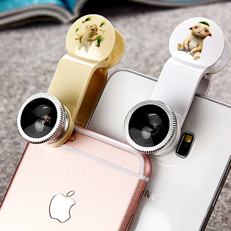 3 In 1 Universal Mobile Phone Camera Len Fish Eye + Macro + Wide Angle Lens for ip 6 5 4 Sams S4/S5 note2 Fishey White Gold(China (Mainland))