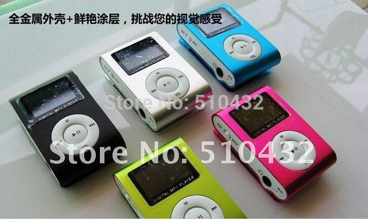 New Portable MP3 LCD Screen Metal Mini Clip MP3 Player With High Quality Earphone Music players 2pcs/lot(China (Mainland))
