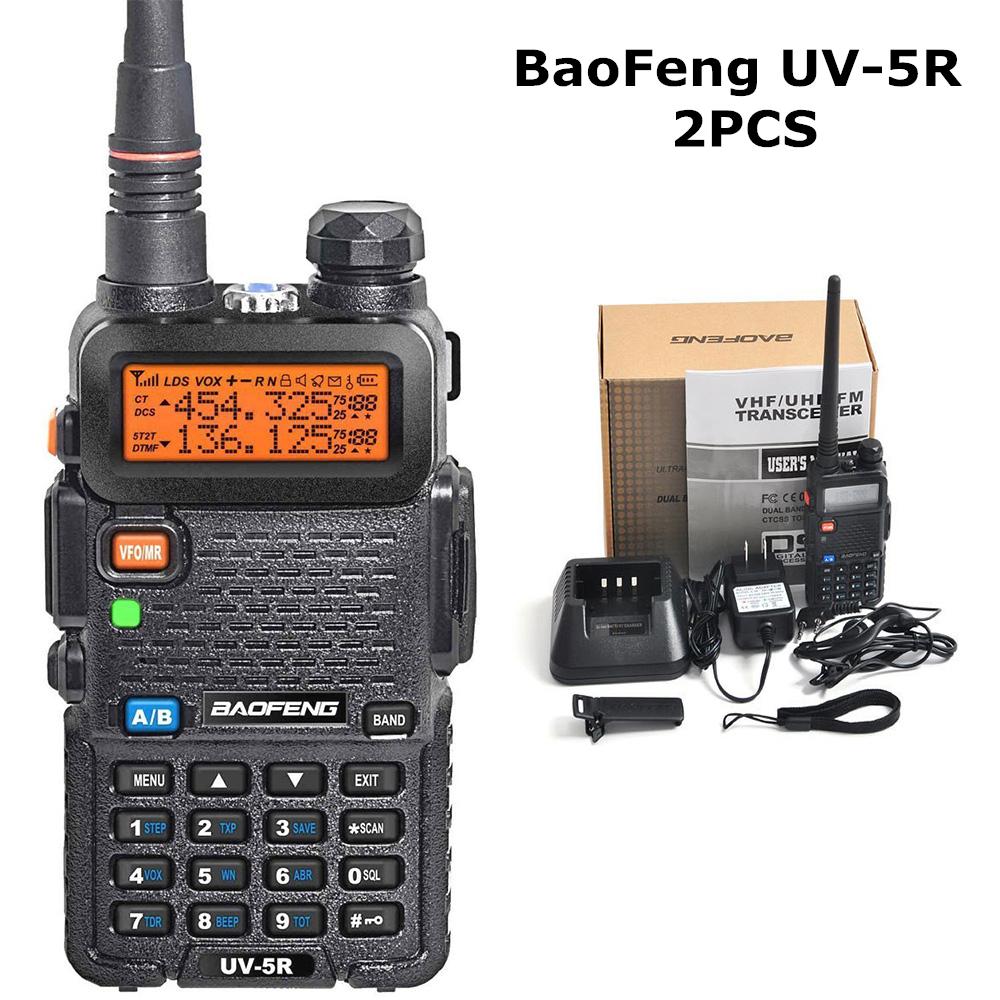 2PC BaoFeng UV5R EU Plug VHF 136-174MHz Dual-Band Two-Way Radio Walkie Talkies UV-5R HAM FM UHF VHF VOX Radio Comunicador(China (Mainland))