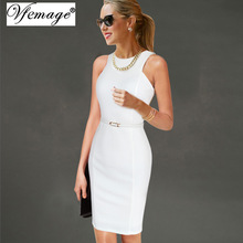 Vfemage Womens Elegant Sleeveless Belted Wear To Work Office Business Party Casual Summer Bodycon Slim Fitted Pencil Dress 6406(China (Mainland))