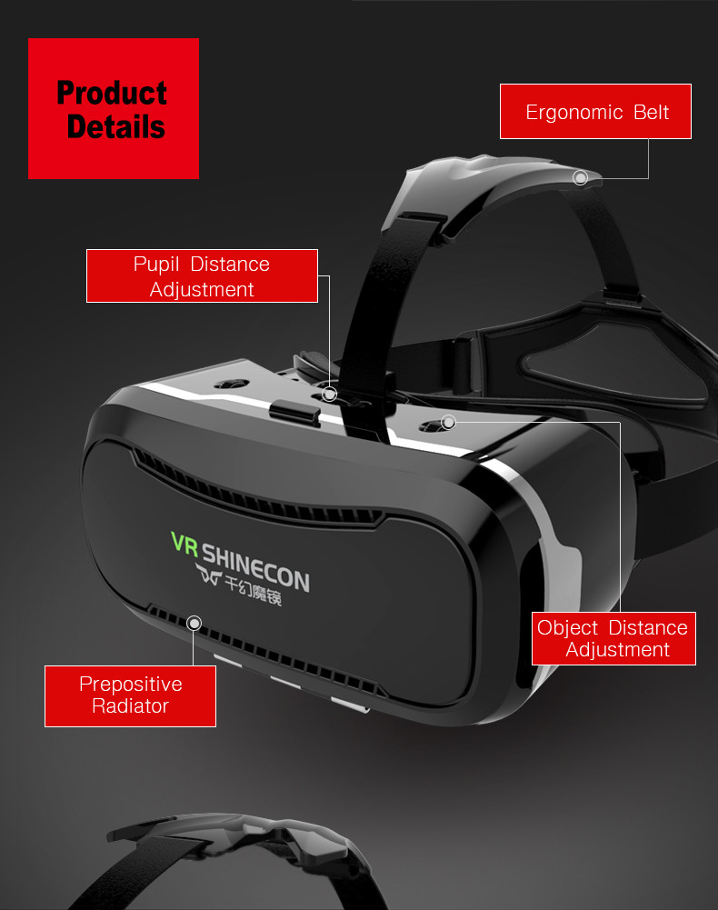 Original VR Shinecon Google Cardboard 2.0 VR Box Virtual Reality 3D Glasses Headset For 4.5-6″ Phone + Controller