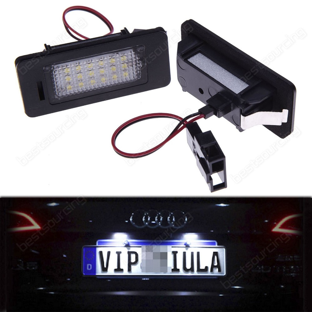 18 SMD White LED License Number Plate Light Lamp FOR AUDI A3 A4 A6 S6 A8 Q7 RS4(CA120)(China (Mainland))