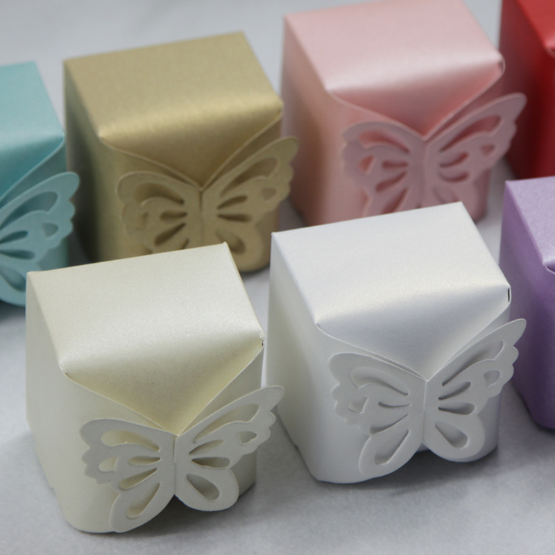 100Pcs Hot Sale Wedding Favor Gift Boxes Pearl Paper Butterfly Wedding ...