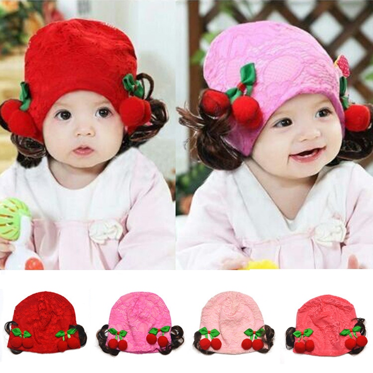 Lovely Baby Girls Skullies Hats Fruit Cherry Wig Lace Kids Infant Hat Cute Baby Photo Props Hats 1pc Free Shipping MZC-15053(China (Mainland))