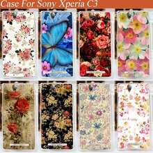 Fashion 3d diy beautiful rose flowers design hard plastic cover case Sony Xperia C3 S55T S55U D2533 Dual D2502 - Case Factory store