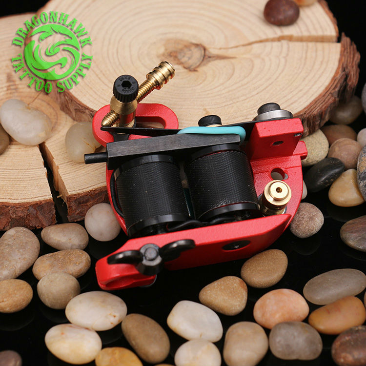 New Design Handmade Wire Cutting Tattoo Machine 10 Wraps Coil Tattoo Gun For Liner & Shader Red Color