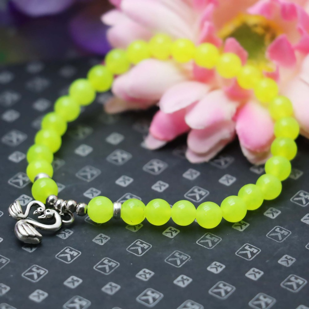 6mm Prevalent Fashion Yellow Lemon beads Chalcedony Bracelet hand chain for women girls Ladies Pendant Mandarin Duck Jewelry(China (Mainland))