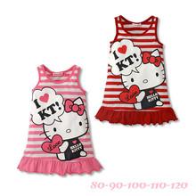 Wholesale children's clothing section 2015 summer vest dress Hello Kitty children's striped vest dress explosion models