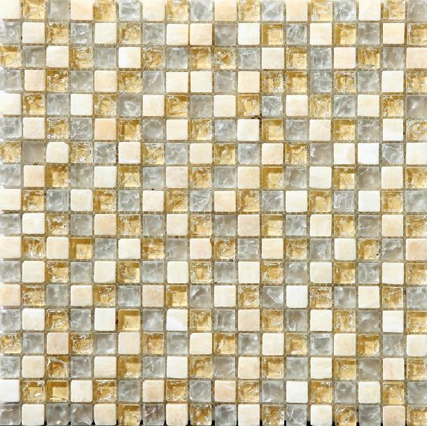 Yellow Mosaic Tile Backsplash: Beige Glass Stone Crackle Backsplash Tile Kitchen Yellow