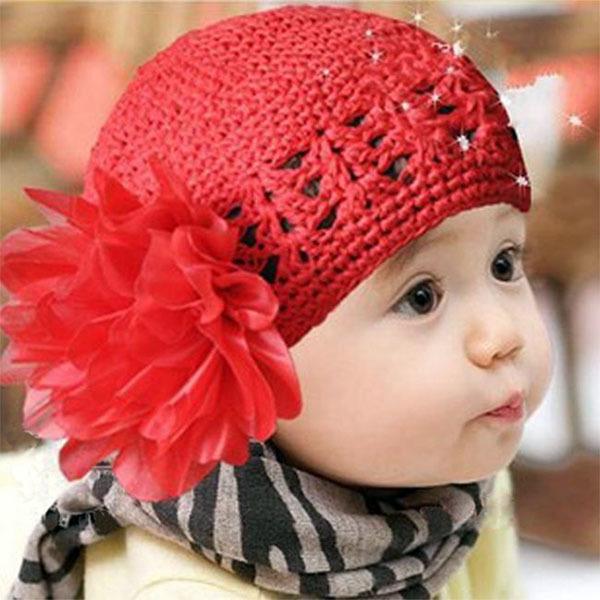 2016 New Fashion Cute Toddlers Girls Baby Beanie Hat Handmade Flowers Crochet Knitting Cap 1-2Y(China (Mainland))