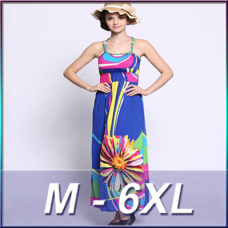 M-6XL 2016 new explosions Bohemian printed ice silk dress plus size pendulum fresh and irregular Holiday Beach dresses(China (Mainland))