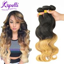 Hot Sale 6A brazilian virgin hair body wave ombre hair extensions3 Pieces/Lot brazilian hair weave bundles brazilian body wave
