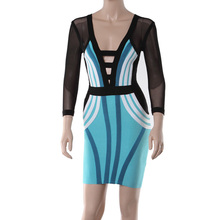 Factory Outlet High Quality three quarter Sleeve Blue and Black Bandage Dress HL New Arrival Ladies Party Dresses Dropshipping