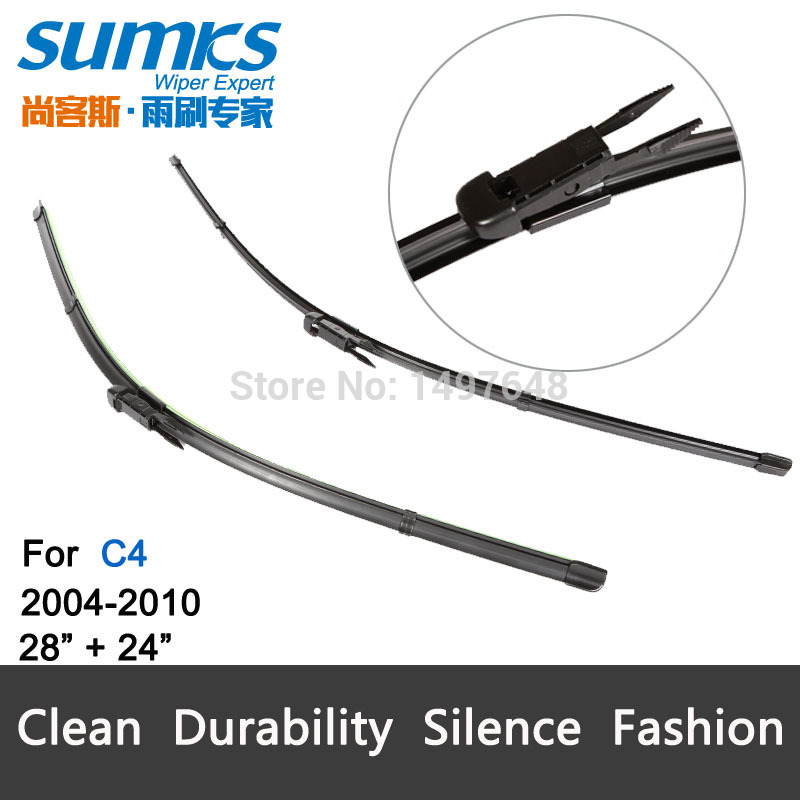 """Wiper blades for Citroen C4 (2004-2009) 28""""+24""""R fit pinch tab type wiper arms only HY-017(China (Mainland))"""