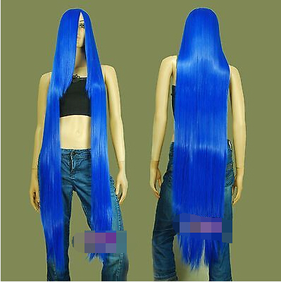 130cm Dark Blue Hi_Temp Series 55cm Extra long Bang Cosplay Wigs for women wig fast deliver