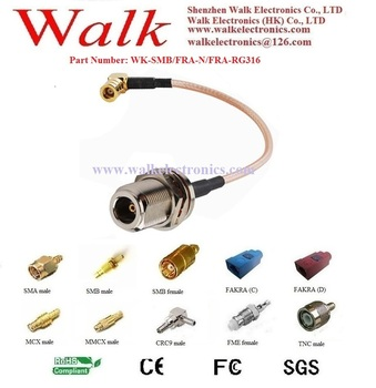 RF cable assembly: SMB female right angle to N female straight bulkhead with RG316 cable
