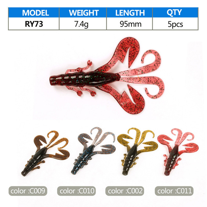 "5pcs/Lot New Capuchin Pteris Lobster Soft Fishing Lures Artificial Fish Bait Road Fly Fishing Lure 9.5cm/3.74"" 7.4g(China (Mainland))"