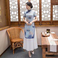 Buy Summer Stylish Long Cheongsam Chinese Ladies Elegant Bamboo Fiber Rayon Qipao Novelty Dress Vestidos Size S M L XL XXL C27354 for $49.80 in AliExpress store