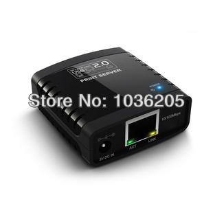 dhl 20pcs/lot Network USB 2.0 LPR Print Server Hub Adapter Ethernet LAN Networking retail packaging(China (Mainland))