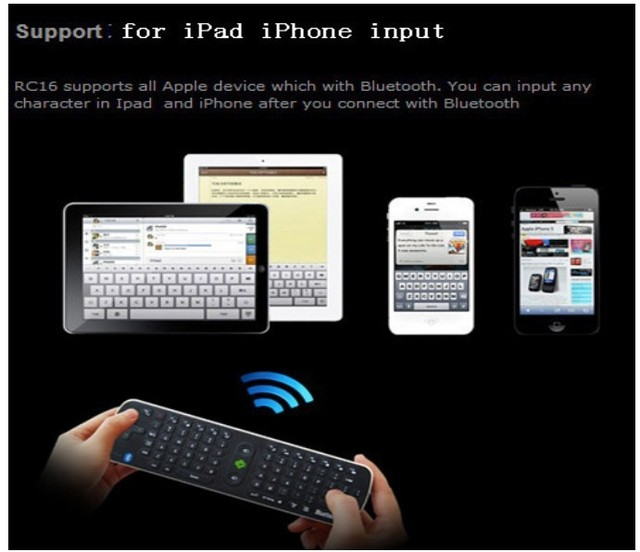 Newest Measy RC16 Bluetooth Mini Fly Air Mouse Wireless Keyboard for iPad /Mini pc/Android TV Box/Tablet pc Free shipping