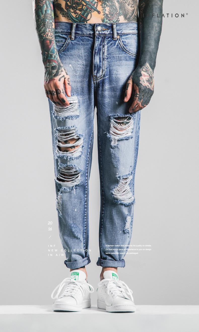 Men 's clothing | 2016 autumn waters washed do old cutting hole grinding bad Men jeans in the street
