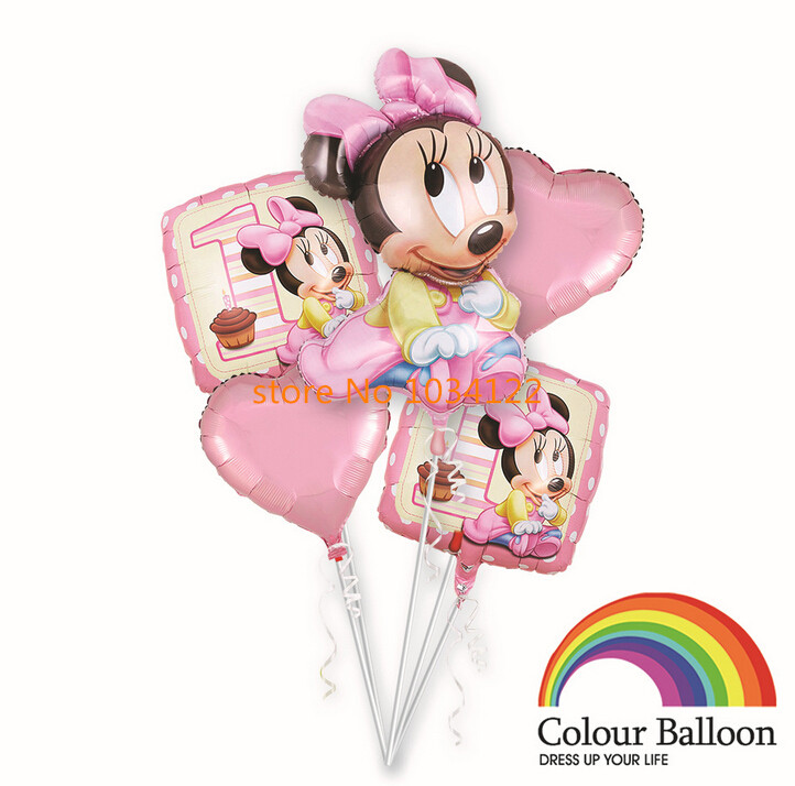 2016 NEW 5PCS Minnie mickey balloon wholesale cartoon balloon birthday suit aluminum film festival toys(China (Mainland))