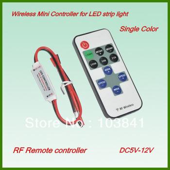 Free shipping Wireless RF Mini single color LED remote Controller DC5V-24V for 5050 3528 single color LED Strip 8 Dynamic Modes