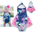 EMS DHL Free shipping 2017 New Children s Girls Lace Halter Blue Romper Summer Cotton
