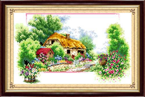 232x142 Lattice Pearl beads embroidery cross Spring countryside needlework home decoration crafts crochet felt costura sewing(China (Mainland))