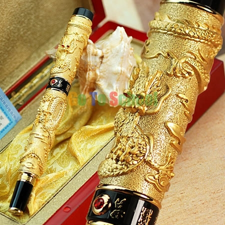 JINHAO GOLDEN TWO DRAGONS PLAY PERAL CARVED CRYSTAL ROLLER BALL PEN COMES WITH ORIGINAL BOX(China (Mainland))