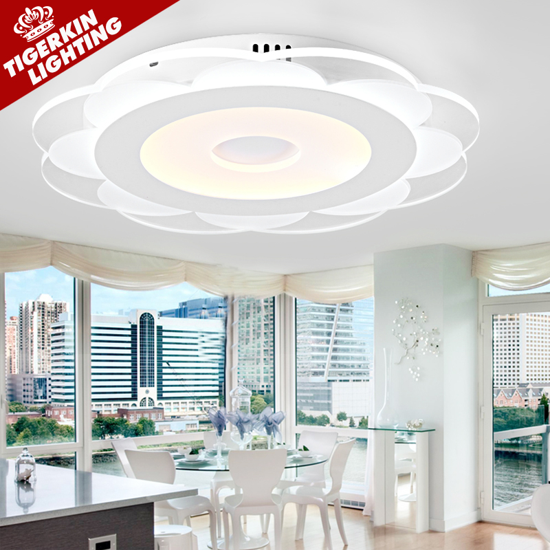 Ultrathin Lotus Modern Ceiling Light With Acrylic Lampshade Ceiling Lamp for Living Room Bedroom lamparas de techo abajur(China (Mainland))