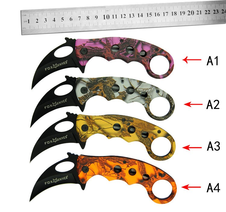 Buy karambit fade claw Folding knife 440 c steel Blade 60 HRC Tactical knife camping knife knives Original box cheap