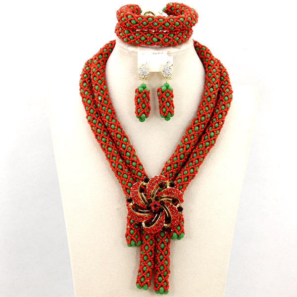 Women Party Costume Necklace Jewelry Set Nigerian Handmade Bridal Necklace Set 2015 Fashion Free Shipping WB146(China (Mainland))