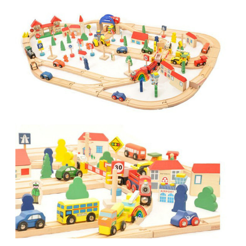 RAIL120 WOOD pieces of railway tracks a large combination of wooden toys can be equipped with a small train to Thomas