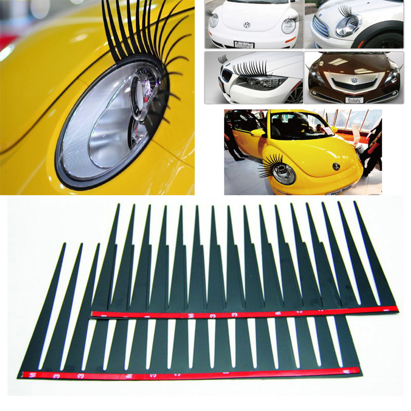 1 Pair Car Vehicle Black Fake Eyelashes Car Eye Lashes Styling Headlight Decorative Sticker(China (Mainland))