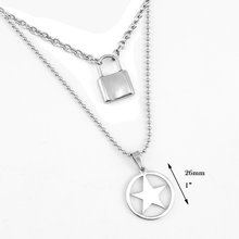 layered chains hiphop Punk Stainless Steel Padlock Necklace men rock Lock Blade Necklaces for women(China)