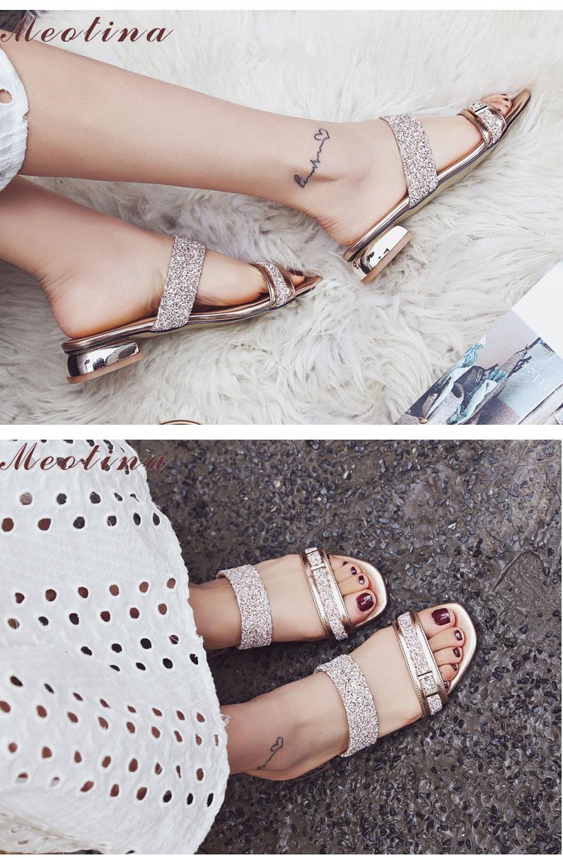 Meotina Women Sandals Summer Women Slides Open Toe Low Heel Slippers Causal  Beach Shoes Ladies Sandals Gold Large Size 9 10 2e72ff9c4ca1