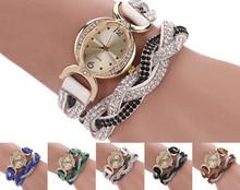 2015 new Two Tone Rhinestone Wrap Faux Suede Round Dial Quartz Bracelet WristWatches women Casual Watches