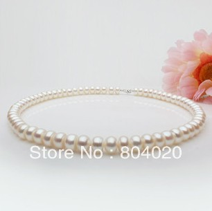 Natural pearls necklaces 8-9mm choker pearl 40mm silver pearl necklaces Charms Classic Asian pearls choker chunky necklaces(China (Mainland))