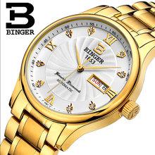 Authentic original BINGER brand men quartz watch waterproof double stainless steel luxury designers business calendar watch