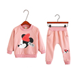 cute causal girl sweatshirt pants set lovely cartoon minnie pattern pink set for 2 6yrs girls