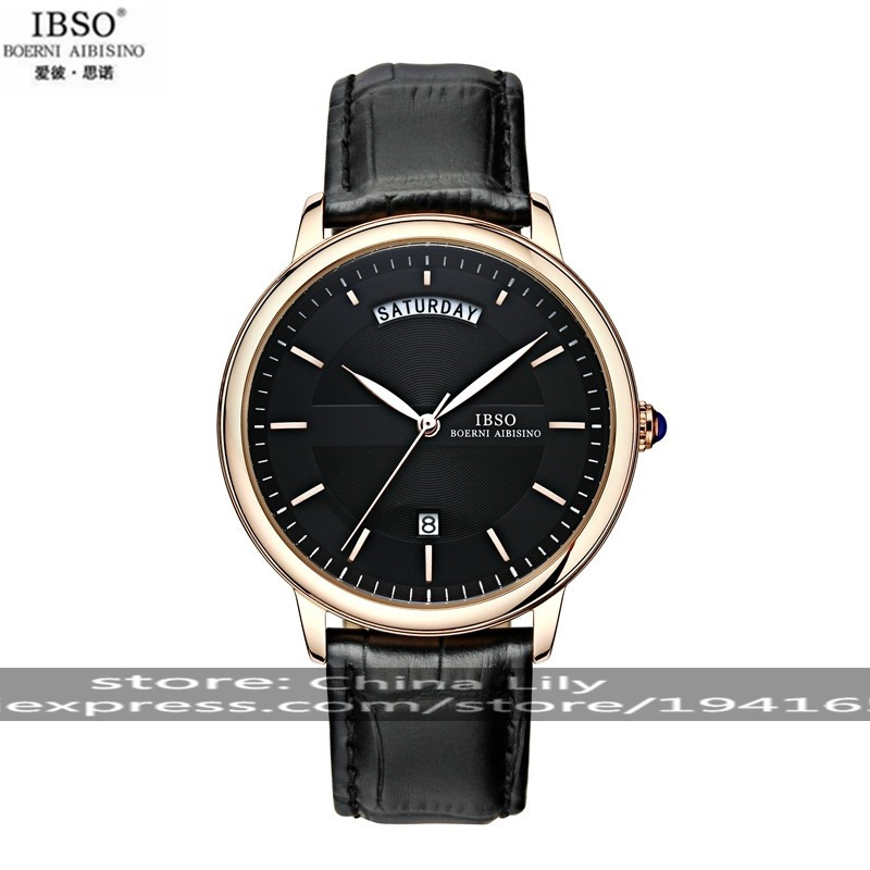 2015 Selling Brand IBSO BOERNI AIBISINO Unisex Ultra Thin Round Dial Analog Wrist Watch with Waterproof &amp; Leather Band 3978<br><br>Aliexpress