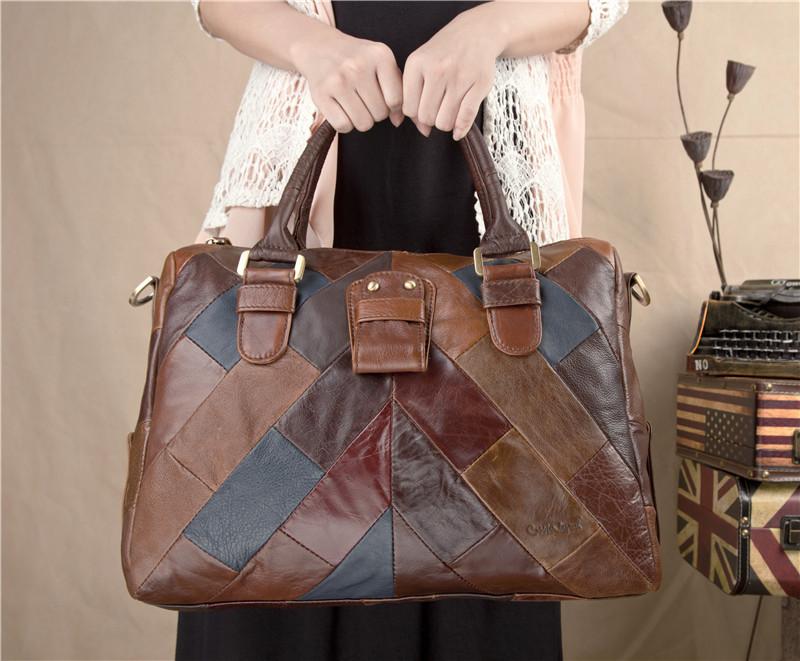 Vintage women messenger bags big capacity cowhide genuin leather patchwork making female business handbag B000040(China (Mainland))