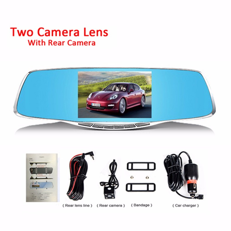New 5 Inch Car Dvr Camera Rearview Mirror Digital Video Recorder With Dual Lens Registrar Camcorder Full HD 1080P Night Vision