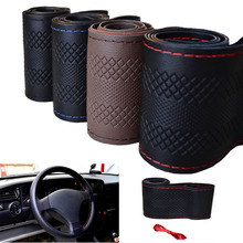 Car Steering-Wheel Cover hand-stitched 36/38/40cm Microfiber leather steering wheel cover funda volante housse volant voiture(China (Mainland))